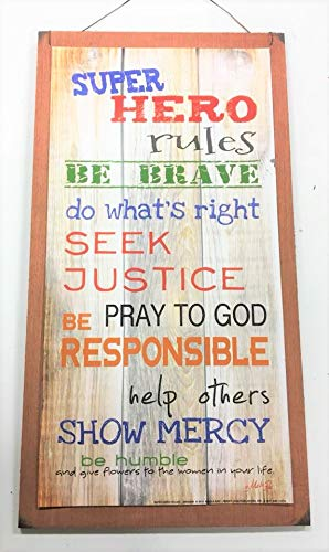 Super Hero Rules Boys Bedroom Inspirational Wooden Wall Art Sign Be Brave Do Whats Right Seek Justice