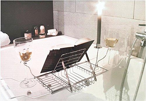 Vasca Da Bagno Vetro : Basong vassoio per vasca da bagno con supporto di vetro di vino