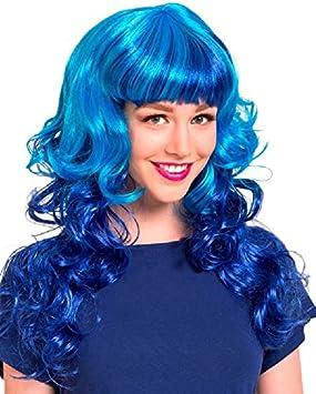 Folat Peluca lockig Azul Carnaval Halloween fastnacht
