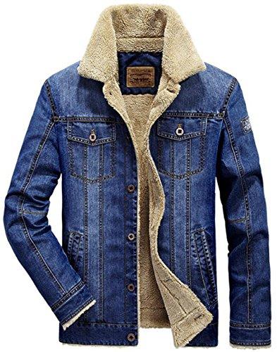 JEWOSOR Mens Plus Cashmere Winter Warm Fur Collar Denim Jacket Windbreaker Outwear Parka Coat (US Medium / Tag Asia XL, Denim Blue) Denim Barn Coat
