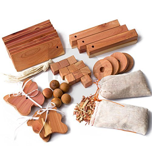 40pcs Unihom Mixed Cedar Moth Repellent Set: Hang Ups, Balls and Nuggets