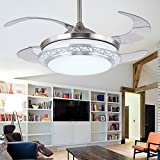 Lighting Groups Modern Acrylic Blades Cool Ceiling Fan Light Kit 42 Inch Energy-saving Mute Fan Chandeliers For Indoor Living Room Bedroom Dining Room Ceiling Light Fixture (42 Inch, Silver)