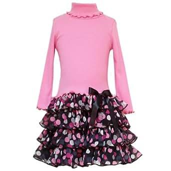 Size-16 RRE-56891F PINK KNIT TO MULTI-TIERED DOT PRINT CHIFFON DROP WAIST Fall School Girl Party Dress,F456891 Rare Editions TWEEN GIRLS