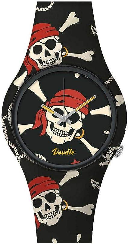 Montre Doodle Skull Mood Rouge