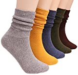 5 Pairs Womens Cotton Crew Socks Casual Slouch Knit Socks Pure Color A10 (solid color)