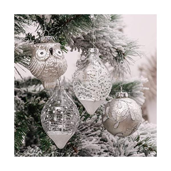 Valery Madelyn Palle di Natale Vetro Addobbi Natalizi Set, 10 Pezzi 10-15cm Silver And White Palline di Natale Decoration for Addobbi Natalizi per Albero 3 spesavip