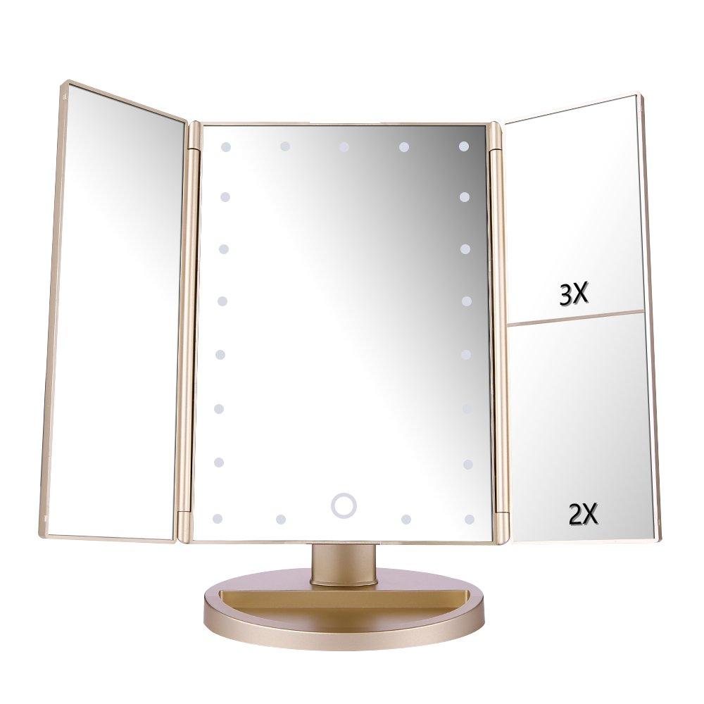 Easehold Vanity Makeup Mirror with 2 X 3X Magnifiers 21 LED Lights Tri-Fold 180 Degree Adjustable Countertop Cosmetic Bathroom, Gold by Easehold