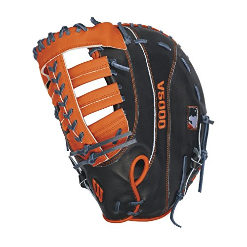 Wilson A2000 MC24 Miguel Cabrera Game Model 1st Base Baseball Glove, Navy/Orange, Left Hand Thrower (Orange And Black Baseball Gloves)