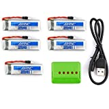 UUMART JJRC H37 RC Quacopter Spare Parts 20C 3.7V 500mAh Li-Polymer Battery 5PCS and 5 In 1 Battery Charger