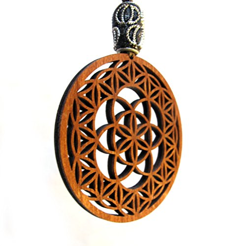 "Macrame Pendant Necklace ""Seed of Life in Flower of Life"","