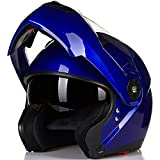 ILM 8 Colors Motorcycle Modular Flip up Dual Visor Helmet DOT (L, Blue)
