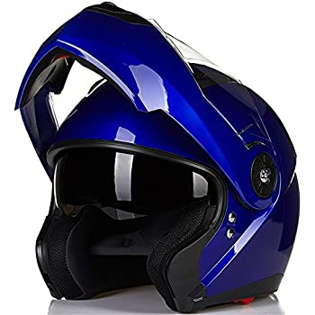 ILM 8 Colors Motorcycle Modular Flip up Dual Visor Helmet DOT (M, Blue)