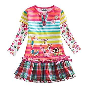 e7f8e72ec1b VIKITA Kid Girls Cute Embroidered Flower Stripe Long Sleeve Cotton Dress  L323COLOR 2T