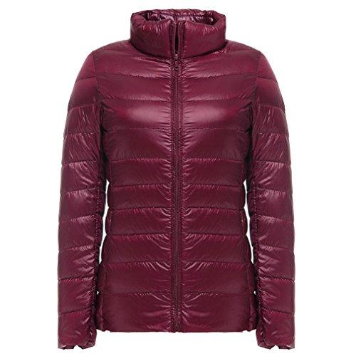 Bangyin Automne Hiver Ultra Lger Down Jacket Femmes Coupe Femmes Lger Packable Down Manteaux Down Wine Red