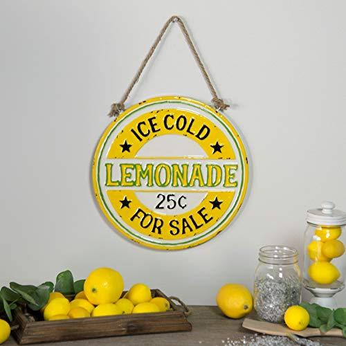 VIPSSCI Lemonade for Sale Sign Round Metal Sign with Rope Hanger Kitchen Wall Art (Vintage Lemonade)