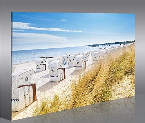 Strandkorb am meer  Amazon.de: Bild Bilder auf Leinwand Strandkorb Strand Meer 1p ...