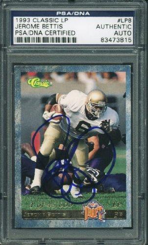 Notre Dame Jerome Bettis Signed Card 1993 Classic Lp Rookie #Lp8 PSA/DNA Slabbed