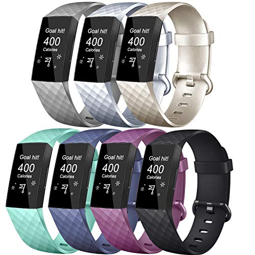 Tobfit Sport Bands Compatible with Charge 3 & Charge 3 SE, Silver, Champagne Gold, Grey, Plum, Black, Blue, Mint Green, Large, 7 Pack