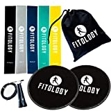Resistance Bands & Core Sliders Set | Quality Resistance Loops (5) Premium Dual Sided Gliding Discs (2) Speed Jump Rope (1) – Booty Band Fitness Exercise & BeachBody 80 Day Obsession – BONUS EBOOK