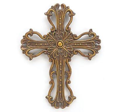 Amazon Com Bronze Gold Wall Decor Cross 6 5 Length X 8 5