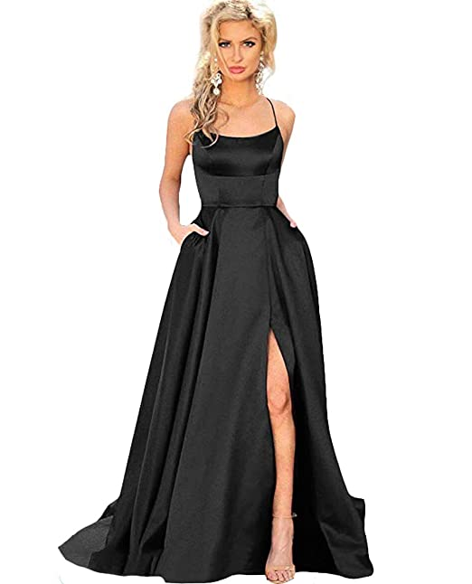 Amazon.com: Bobi Vestido de fiesta para mujer, satén, línea ...