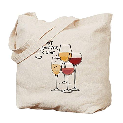 Cafepress–its not a Hangover its Wine Flu–Borsa di tela naturale, tessuto in iuta