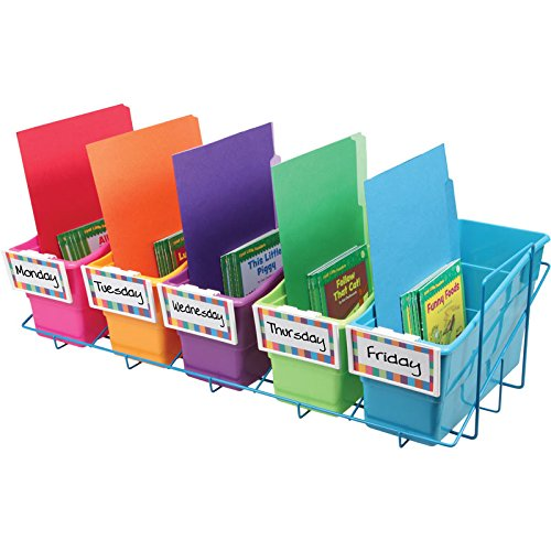 Really Good Stuff Store More Book and Binder Holder 5-Bin Rack - Sturdy, Easy to Carry, Blue, 27.5