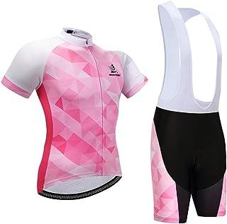GWELL Damen Radtrikot Atmungsaktive Fahrradbekleidung Set Trikot Kurzarm + Radhose mit Sitzpolster für Radsport Rosa