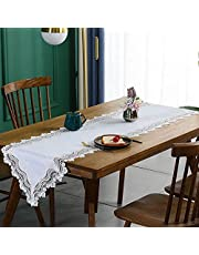 White Flower Embroidery Table Runner with Lace Dresser Scarf for Coffee Table Wedding Home Party Decoration