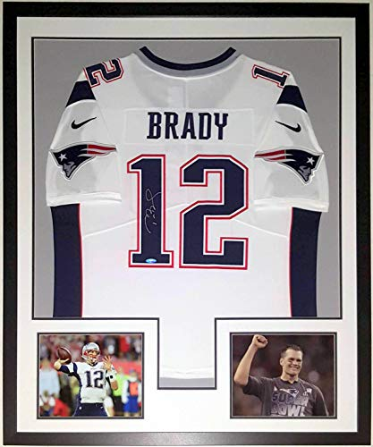 Tom Brady Signed Authentic Nike Patriots Jersey - Tristar Authenticated COA - Professionally Framed & 2 Super Bowl 51 8x10 Photo 34x42