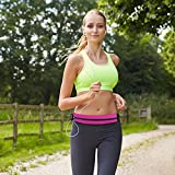 Waterproof Running Belt Waist Pack, Bounce Free Weather Resistant Pouch Expands to Carry Cell Phone with Case, Keys, Fuel, Wallet and Other Items, Water Resistant Zipper and Headphone Grommet