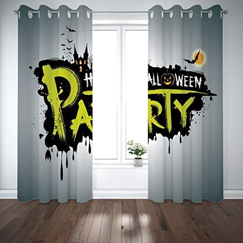 SCOCICI Grommet Satin Window Curtains Drapes [ Halloween,Halloween Party Hand Drawn Brushstrokes Artistic Design Grunge Cartoon,Yellow White Black] Living Room Bedroom Kitchen Cafe