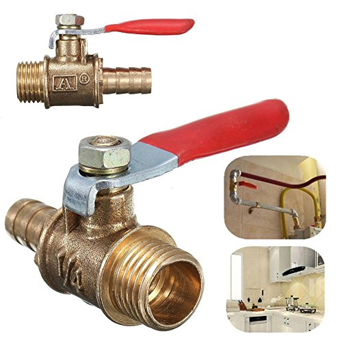 1/4'' Brass Ball Valve Male Threaded Shut-Off Drain PT Gas Air Fluid Red Handle - Off Remote Safety Pilot