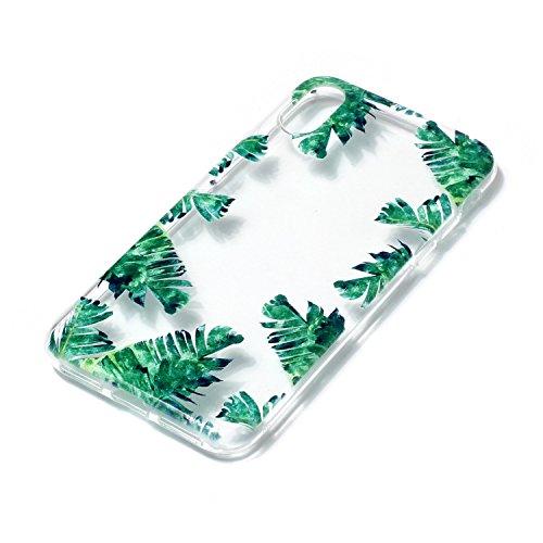 Coque iPhone X Feuilles vertes Premium Gel TPU Souple Silicone Transparent Clair Bumper Protection Housse Arrière Étui Pour Apple iPhone X / iPhone 10 (2017) 5.8 Pouce + Deux cadeau