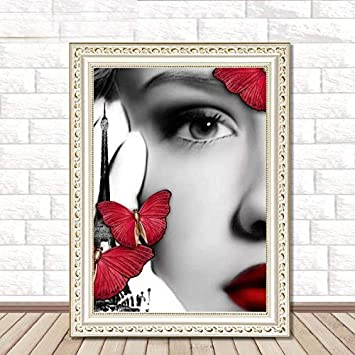 a0985fd37d 5D DIY Diamond Painting Butterfly Fairy Paints Crystal Round Rhinestone  Portrait Embroidery Beauty Home Decor Cross