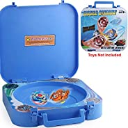 HOME4 2in1 Battle Stadium Holder Arena Compatible with Beyblade, Toy Storage Organizer Carrying Case Box