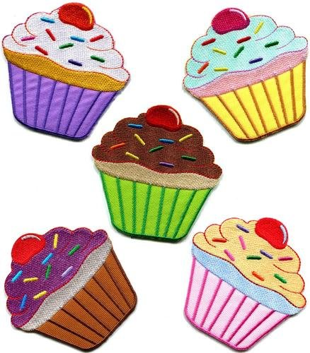 Lot of 5 Cupcake Retro Fairy Cake Cup Sweets Dessert Applique Iron-on Patches Handmade Fast Shipping with Special Gift