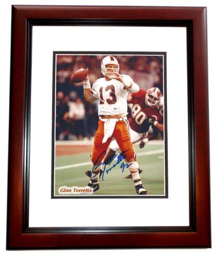 Heisman 1992 Trophy - Gino Torretta Signed - Autographed Miami Hurricanes UM 8x10 inch Photo MAHOGANY CUSTOM FRAME - Guaranteed to pass PSA or JSA - 1992 Heisman Trophy Winner