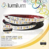 Lumilum 16,4ft (5m) LED Strip Light 24V Low Voltage Series (2700K Ultra Warm White) SMD 5050 chips, 95 High CRI, Fully Certified, 50,000 hours Tested, Dimmable, IP54 Rated, Indoor and Outdoor Use