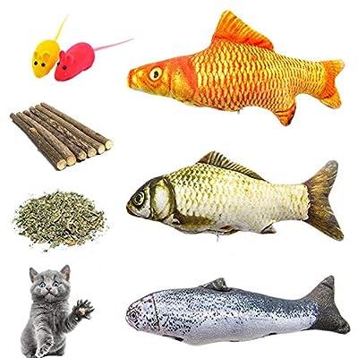 CatNip for Cats Catnip Toys, Cat Teeth Grinding Chew Toys Set – 3 Refillable Catnip Fish, 6 Catnip Matatabi Ch [tag]