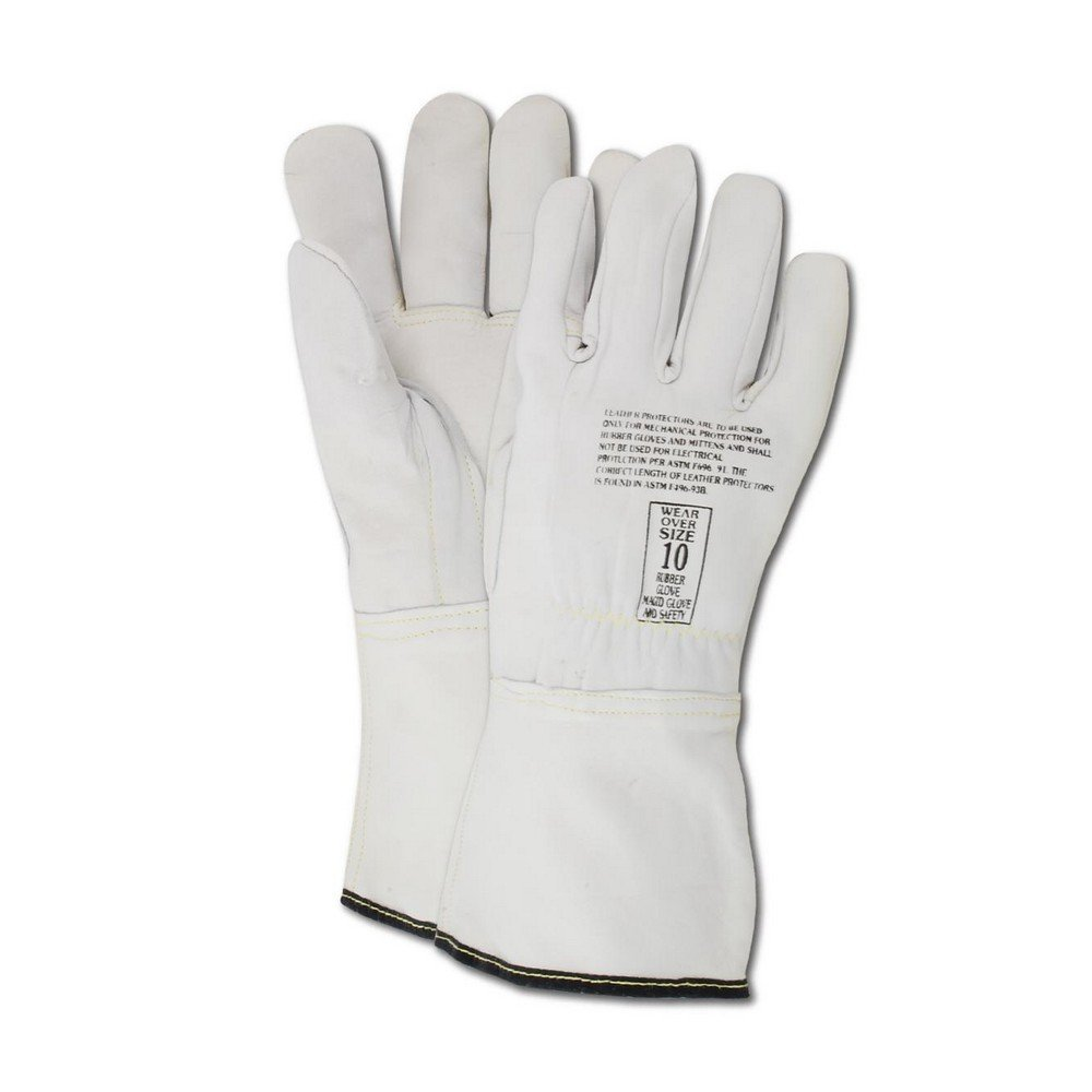 Magid Glove & Safety 12508-10 Power Master 12508 Linesman Low Voltage Protector Gloves, Size 10, Pearl