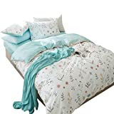 OTOB 3 Piece Duvet Cover and Pillow Shams Set Twin Cotton 100 for Kids Woman Blue White Printed Tree Floral Garden Reversible Design Teen Girls Bedding Sets Twin