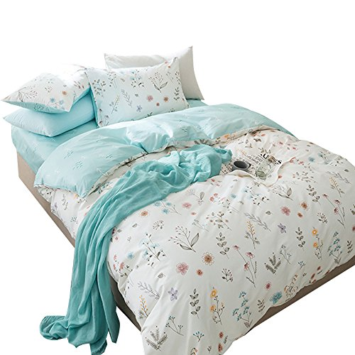 - OTOB 3 Piece Duvet Cover and Pillow Shams Set Twin Cotton 100 for Kids Woman Blue White Printed Tree Floral Garden Reversible Design Teen Girls Bedding Sets Twin
