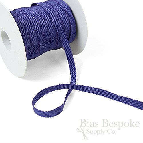 (3 Yards of Vera 3/8'' Cotton & Viscose Petersham Grosgrain Ribbon, Dark Periwinkle, Made in Italy)