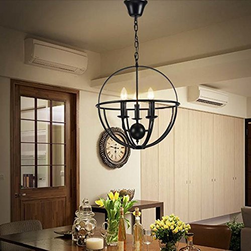 Vintage Black Wrought Iron Light Fixture: Industrial Adjustable Wrought Iron Vintage Retro Pendant
