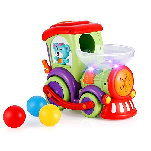 VATOS Drop and Go Train Baby Toys, Do Do Train Toy with Chasing Balls, Light, Talking & Music,Electric Toddler Toys with Universal Moving Wheel, Early Educational Toys for 1.5+ Year Old Boys and Girls -