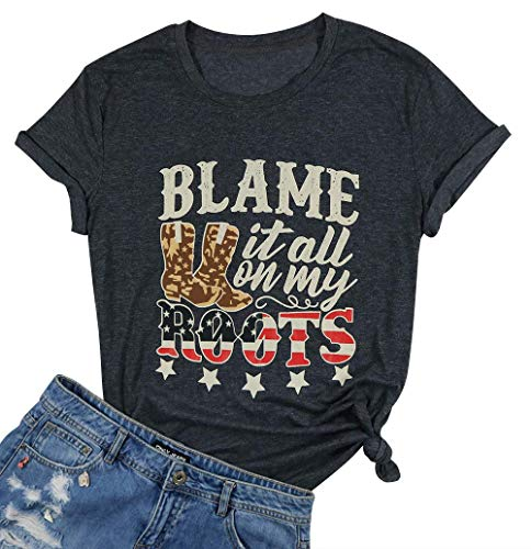Country Shirt Women Blame Blame It All On My Roots Letters Short Sleeve Country Music Tshirt Tops Size S - Country Music Tee Shirts