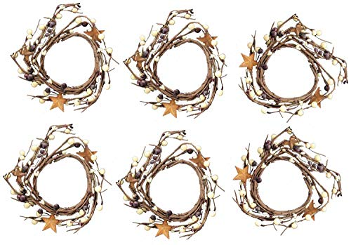 OBI Berry Metal Star Candle Ring Mini Wreath Set of 6 - Country Primitive Small Floral Decor - Dark Burgundy and Cream Faux - Holder Candle Garland Metal
