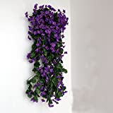 Colorfulife 2pcs Artificial Lifelike Silk 29'' Violet Orchid Ivy Hang Flower Vine Rattan Cane Garland Wall Hanging Plant Wedding Party Home Garden Room Balcony Decoration,7 Colors (Purple)