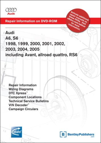 Audi A6, S6 1998, 1999, 2000, 2001, 2002, 2003, 2004, 2005 including Avant, allroad quattro, RS6 Repair Manual on DVD-ROM (Windows 2000/XP)